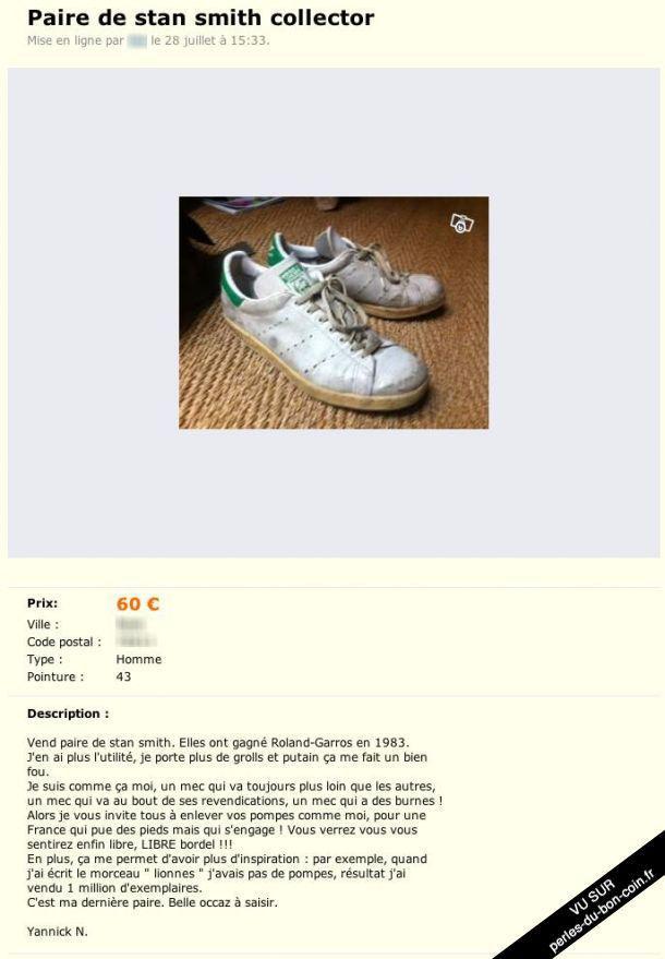 Le bon coin yannick noah publie une annonce pour vendre ses adidas net actus - Comment vendre sur le bon coin ...